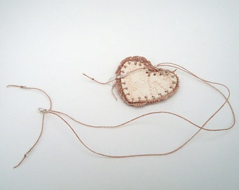 Dusty Rose, Fishnet Valentine, Pottery and Fiber, Knotted Necklace, Blush Pink HT21