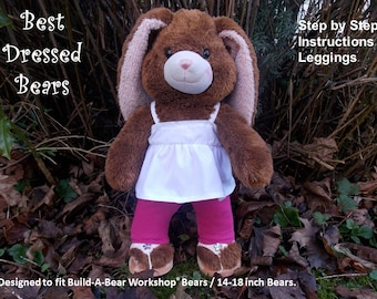 """Teddy Bear Clothes Sewing Pattern:  Leggings to fit 'Build-A-Bear' Bears / 14-18"""" bears. PDF Pattern. Full size pattern pieces"""