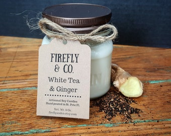 100% Pure Soy White Tea and Ginger candle in mason jar by Firefly & Co.