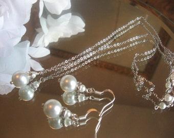 Pearl Bridal Jewelry Set, Bridesmaid Jewelry, Pearl Bridesmaid Necklace & Earrings Set, Pearl Wedding jewelry, wedding jewelry set