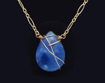 Sodalite necklace / Blue and Gold necklace / Blue pendant necklace / Sodalite pendant necklace / Sodalite jewelry / Blue Wire Wrap necklace