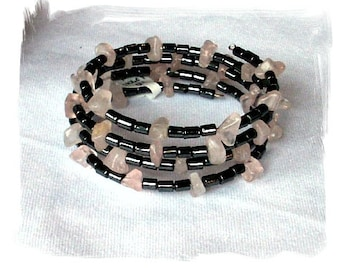 Memory Wire Coil Bracelet Rose Quartz Chips and Genuine Hematite Cylinder Beads