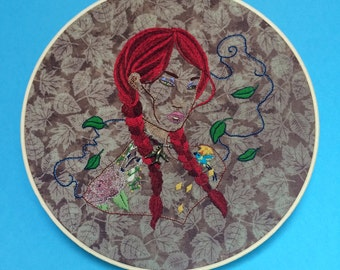 Willow, embroidered wall art