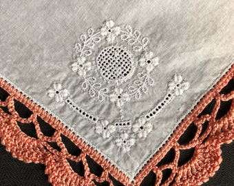Coral Crotched Edge on Embroidered Hankie
