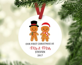 First Christmas Married Ornament, Newlywed Ornament, Newlywed First Christmas, Mr and Mrs ornament, Gingerbread Ornament, Wedding Ornament