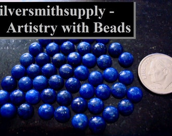2 pcs Afghanistan lapis lazuli high dome cabochons 6mm round 1.25 each CB003