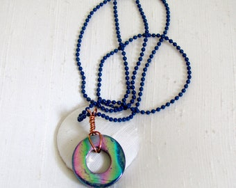 "Iridescent Purple Abalone Circle Necklace ~ Circle of Life Pendant ~ Karma Necklace ~ Wire Wrapped Eternity Circle Necklace: 18 1/2"" inches"