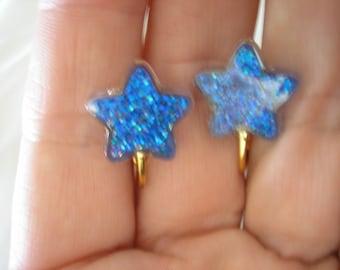 "Play Earring - Clip or Pierced  - Glitter Star - Blue - 1/2"""