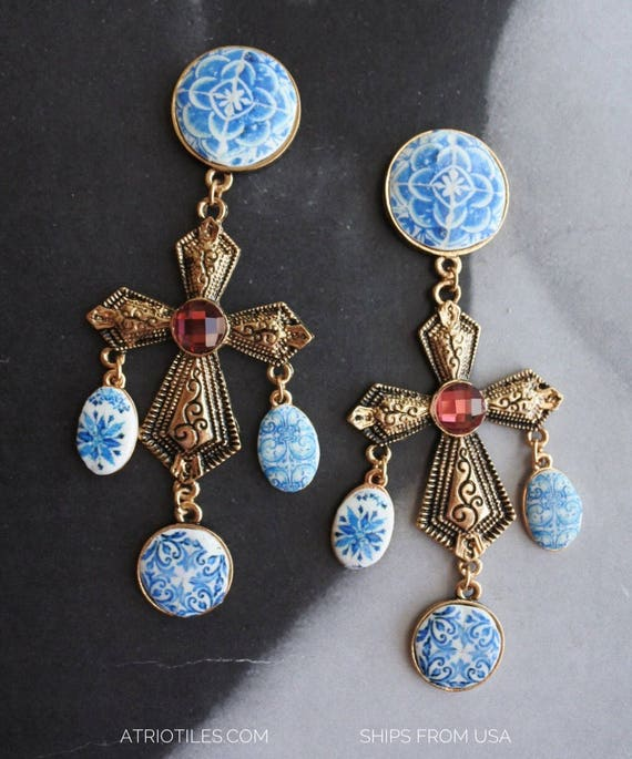 Cross Earrings Portugal Tile Azulejo Blue Porto - Party Travel Jeans Woman Statement History Baroque Retro