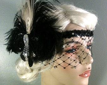 Flapper Headpiece, Great Gatsby Headband, Downton Abbey, 1920s Headband, 1920s Headpiece, Flapper Girl Headband, Rhinestone Mask