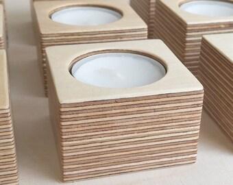 Baltic birch plywood tea light holder