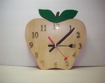 Apple Shaped Wood Clock, handmade wood clock, kitchen clock, dining room clock