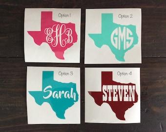 Texas Monogram Decal, Texas Name Decal, Texas Decal, Texas Yeti Decal, Texas Monogram, State Decal, Vinyl Decal, Laptop Decal, Name Decal