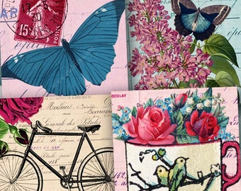 Vintage Flutterby Flower Butterfly Digital Collage Sheet 1 Inch Squares Pink Bicycle French Balloons for Jewelry & Crafts piddix 1086