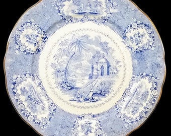 Antique 'Oriental' Transferware Plate by Ridgways, c. 1879-1916