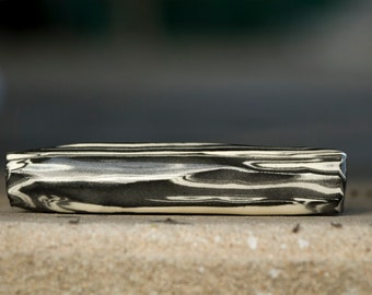 Black and White Marbled Ceramic Chillum