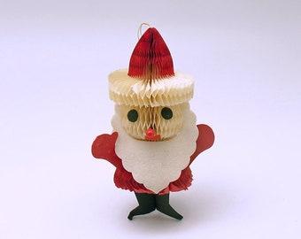 Vintage Christmas Ornament Honeycomb Santa