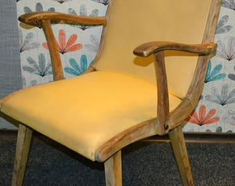 Vintage Cockktail Chair 60s yellow rockabilly