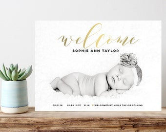 baby birth announcement, photo birth announcement, boy birth announcement, girl birth announcement, digital birth announcement, gold welcome
