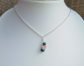 Navy and Coral Necklace - Pearl and Crystal Beaded Cluster Pendant - Silver Chain 16, 17 or 18 inch - Bridesmaids Jewelry Set