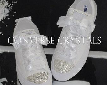 Bridal / Wedding Custom Crystal Converse  With Personalised Printed Ribbon Sizes 3-8