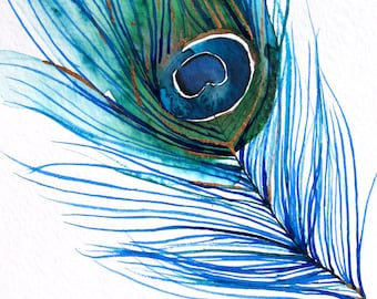 Peacock Feather Art - Large Wall Art - Wall Decor - Watercolor - Peacock Feather I - Large 16x20 Print - Poster - Modern Contemporary Art