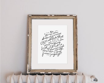 "How Can I Keep From Singing? (No Storm Can Shake My Inmost Calm) |  8x10"" Calligraphy Print, Hymn Art Print, Home Decor, Hymn Lyrics, Gift"