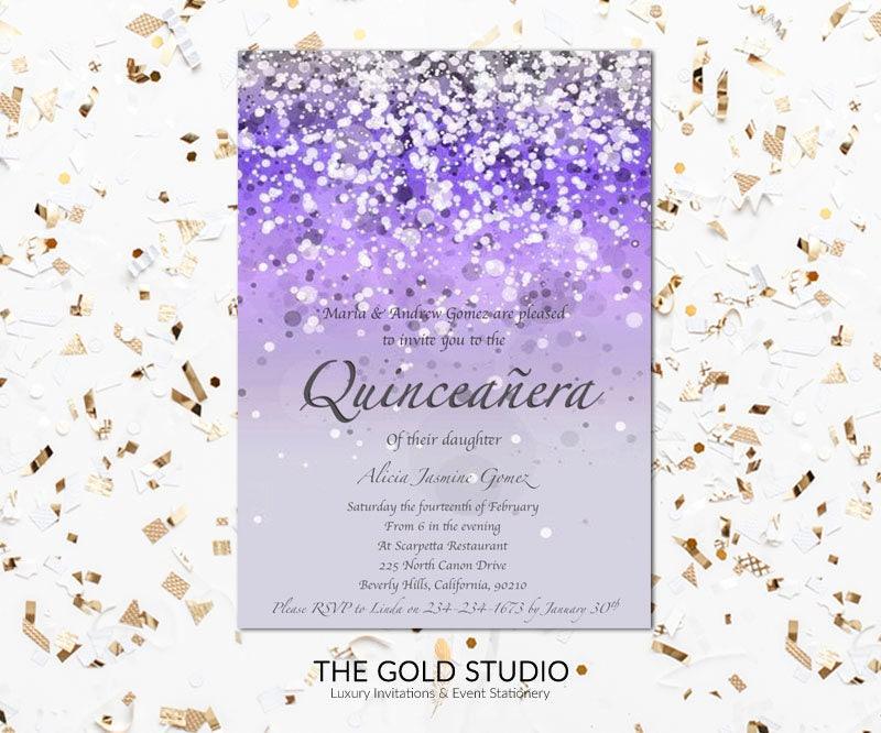 Purple Quinceañera Invitation   Mis Quince anos Glitter 15th ...