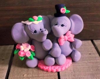 Elephant wedding topper polymer clay figurine