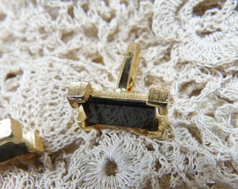 Vintage Black and Gold Cuff Links - BR-588 - Black Cuff Links - Onyx Cuff Links