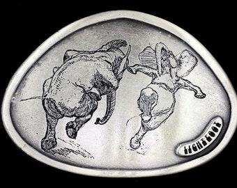 Vintage 70s NOS Gordon Lightfoot Dancing Elephant Animals Weird Strange Odd Art Artwork Pewter Belt Buckle