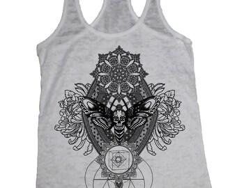 Women's IMPERMANENCE Mandala Tank Dotwork Sacred Geometry Psychedelic Symmetry Tank Top