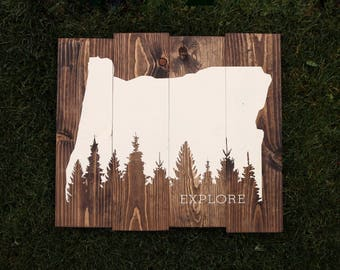 Oregon Explore Pine Tree Forest Wooden Sign
