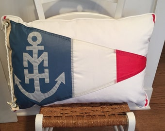 Vintage Burgee Nautical Pillow