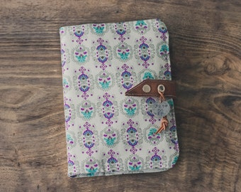 boho notebook cover, notebook cover, daily journal cover, fabric notebook cover, daily planner cover, hippie notebook cover, hand stamped