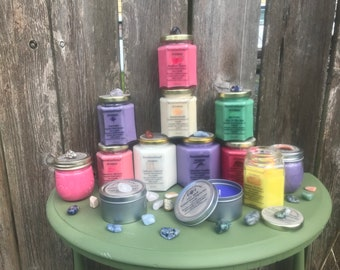 Hand poured scented Soy Candles with a hidden Healing Crystal