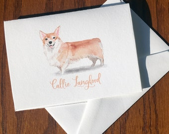 Pembroke Welsh Corgi Personalized Stationery, great gift for dog lovers, stationery set 100% Cotton Savoy, custom gifts for dog lovers
