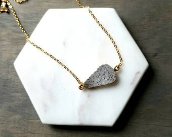 Crystal druzy necklace-24k gold plated druzy-white crystal necklace