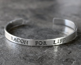Bacon Bracelet, Bacon For Life, Paleo Jewlery, Primal, Foodie Jewelry,  Skinny Food Cuff Bracelet, Processed Meat, Pork, Pig, I Love Bacon