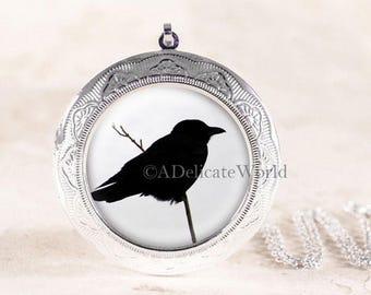 Crow Jewelry Locket - Silver Bird Jewelry, Gothic Crow Locket, Black Bird Silhouette Jewelry, Poe Raven Locket, Silver Bird Locket Necklace