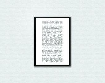 If I Ain't Got You - Alicia Keys  Lyrics Song Lyrics Typography Print, Home Art Decor Print