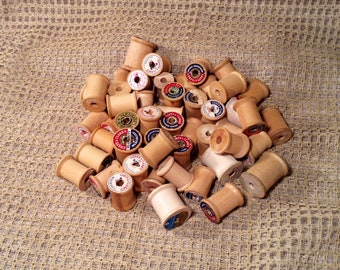 Set of 50 Vintage Wooden Spools - Small & Large Wood Sewing Spools - Rustic Country, Cottage Chic -  DIY Craft Supplies