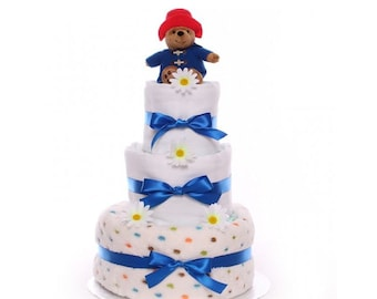 Nappy Cake For A Baby Boy with Paddington Bear Soft Toy, 3 tier nappy cake gift, baby shower gift idea