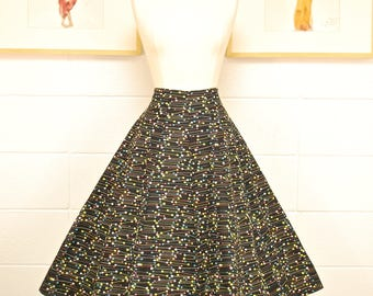 1950's/60's Black Atomic Swing Skirt / Circle Skirt / Pin Up / Rockabilly / Rare Collectable Retro