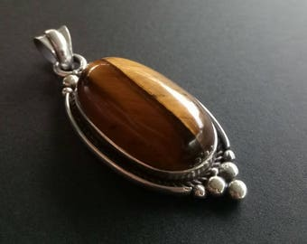 Sterling Silver and Tigers Eye Statement Pendant - Handmade Tigers Eye Statement Pendant - Sterling Silver Tigers Eye Boho Statement Pendant