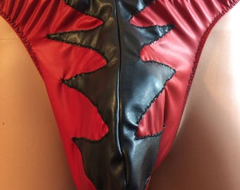 Super Hero Red and Black Pleather Thong