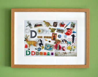 Limited Edition Alphabet Collage Print With Mount: D Is For...  Original, Vintage-Themed, Unframed.