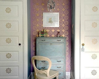 Modern Lace Pattern Large Wall Stencil - Colorful DIY Wall Decor - Designer Wallpaper Look for Less