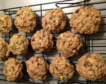 Oatmeal Cookies with 2 additional ingredients of your choice.  Cookies are hearty - not flat! Soft and chewy!