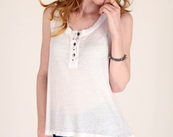 Thermal Knit Burnout Fit and Flair Tank Top